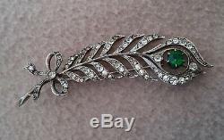 Antique Art Nouveau 900 Silver Diamond Paste Green Garnet Brooch Peacock Feather