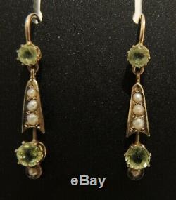 Antique Art Nouveau 9ct gold Peridot & Seed Pearl Drop Earrings c1900