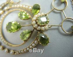 Antique Art Nouveau 9ct gold Peridot and Seed Pearl Necklace