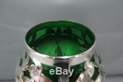 Antique Art Nouveau Alvin Large Green Glass with Sterling Silver Overlay 14 Vase