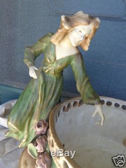Antique Art Nouveau Amphora Turn Austria Ladies Roses Art Pottery Centerpiece