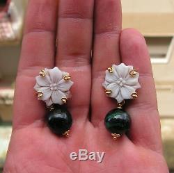 Antique Art Nouveau/Art Deco Silver Framed Cameo Earrings LAST NACRE Green