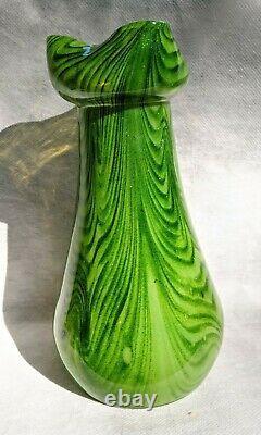 Antique Art Nouveau Bohemian Czech Rindskopf Adventurine Glass Vase