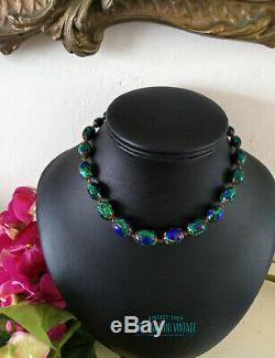 Antique Art Nouveau Bohemian Czech Venetian Peacock Eye Foil Beads Necklace Gift
