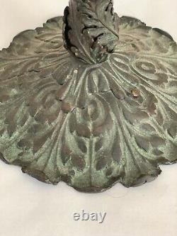 Antique Art Nouveau Bronze Harp Desk Lamp Base