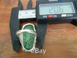 Antique Art Nouveau, Chinese Apple Green Carved Jade Ring Sterling Silver