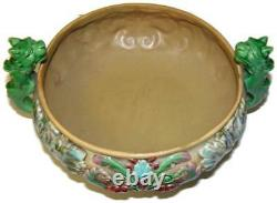 Antique Art Nouveau Czechoslovakia Majolica Centerpiece Bowl Red & Green Dragons