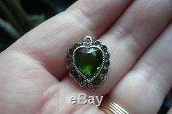 Antique Art Nouveau Deco Paste Emerald Green Jewel Sterling Heart Pendant Glass