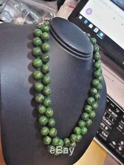 Antique Art Nouveau Deco Vintage Bakelite Jade Green 2 Layers Beads Necklace