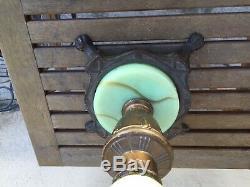 Antique Art Nouveau Dragon Bridge Arm Table Lamp Green Slag Glass Tulip Shade