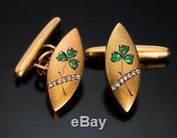 Antique Art Nouveau Emerald, Diamond and Gold Cufflinks