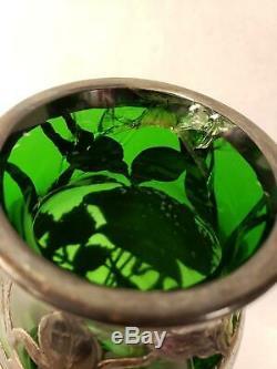 Antique Art Nouveau Emerald Green Glass Vase Silver Floral Overlay Alvin