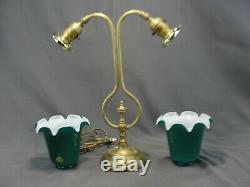 Antique Art Nouveau Era Double Socket Arm Lamp Cased Green Glass Shades Vianne