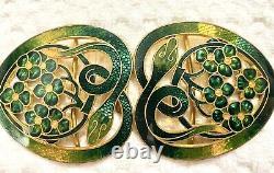 Antique Art Nouveau Gilt Enamel Green Guilloche Snakes /flowers Belt Buckle