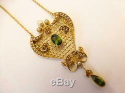Antique Art Nouveau Gold Pearl & Green Tourmaline Pendant & Chain C. 1910