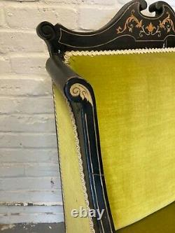 Antique Art Nouveau Inlaid Ebonised & Upholstered Chair Armchair (Can Deliver)