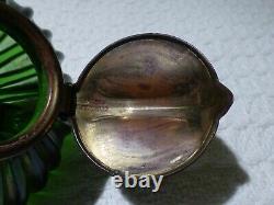 Antique Art Nouveau Iridescent Green Glass & Brass Inkwell Loetz / Kralik
