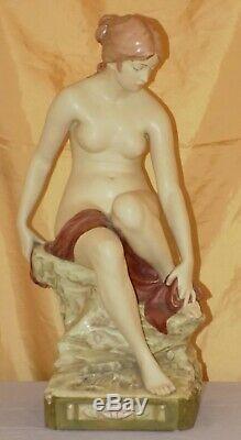 Antique Art Nouveau Jugendstil 19 ROYAL DUX Czech Porcelain Nude Bather c. 1900s