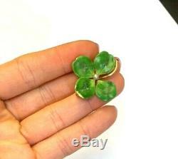Antique Art Nouveau Kelly Green Irish 4 Leaf Clover Enamel Flower Pin
