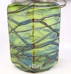 Antique Art Nouveau Kralik Veined Bohemian Green Art Glass Biscuit Jar 1900s