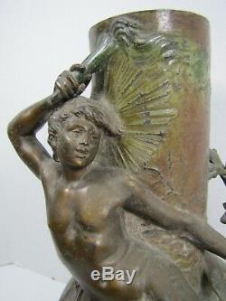 Antique Art Nouveau NUDE MALE BIRD VINES FLOWERS Decorative Art Vase Statue Brnz