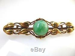 Antique Art Nouveau Natural Jadeite Jade 14K Gold Leaf Bar Pin