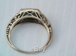 Antique Art Nouveau Ob Ostby & Barton 10k Gold Green Tourmaline Stone Ring