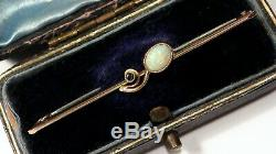 Antique Art Nouveau Opal & Green Tourmaline 9ct Gold Brooch