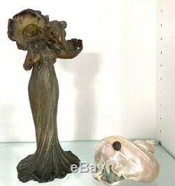 Antique Art Nouveau Patinated Bronze Figural Lamp Nautilus Seashell Shell Shade