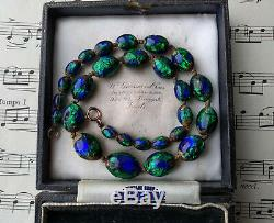 Antique Art Nouveau Peacock Eye Bohemian Czech Venetian Foil Beads Necklace Gift