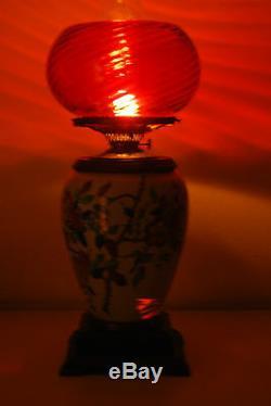 Antique Art Nouveau Porcelain Wild Roses Colibri Bird Asian Oil Green Blue Lamp