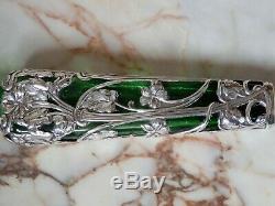 Antique Art Nouveau Silver Overlay Green Glass Scent Bottle Samuel Jacob London