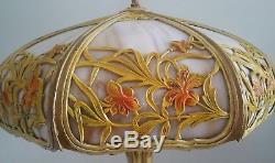 Antique Art Nouveau Slag Glass Lamp Daffodils Design 8 Banded Panels Ornate