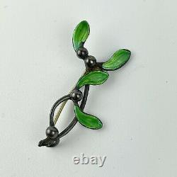 Antique Art Nouveau Solid Silver Green Enamel Mistletoe Brooch Charles Horner