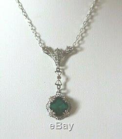 Antique Art Nouveau Sterling Green Filigree Lavalier Necklace c1920 Vintage