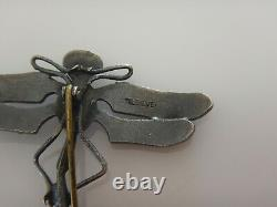 Antique Art Nouveau Sterling Silver & Blue Green Enamel Dragonfly Brooch