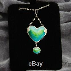 Antique Art Nouveau Sterling Silver Blue Green Enamel Heart Lavalier Necklace