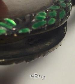 Antique Art Nouveau Sterling Silver & Green Enamel Lorgnette Pendant