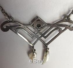 Antique Art Nouveau Sterling Silver Green Gemstone & Pearl Dangles Necklace