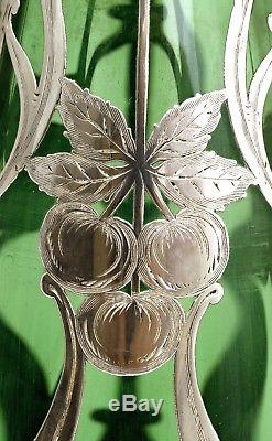 Antique Art Nouveau Sterling Silver Overlay Green Glass Vase Attributed Alvin