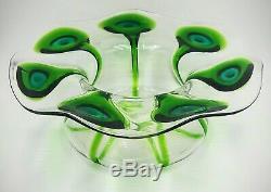 Antique Art Nouveau Stuart & Sons Green Peacock Eye Trailed Glass Center Piece