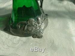 Antique Art Nouveau Wmf Pewter Green Glass Claret Jug Wurttemberg Metal Factory