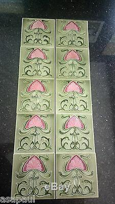 Antique Art Nouveau fireplace tiles (x10) green with pink flower design