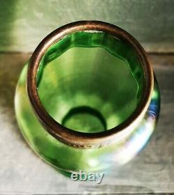 Antique Art Nouveau green Loetz art glass vase with copper metal top c. 1910