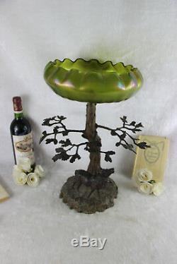 Antique Art nouveau center bowl tree green iridescent glass Vase attr. LOETZ