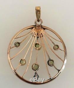 Antique Arts & Craft Nouveau Gold & Green Tourmaline Pendent