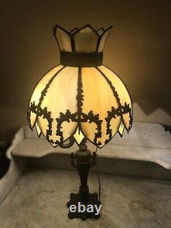 Antique Arts & Crafts Style Table Lamp Curved Bent Cream Green Slag Glass Shade