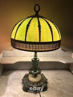 Antique Arts & Crafts Style Table Lamp Curved Bent Green Brown Slag Glass Shade