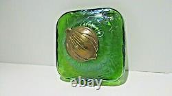Antique Attributed Loetz Art Nouveau Iridescent Green Glass Inkwell