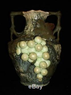 Antique Austrian Teplitz Amphora Grape Vine Leaves Pottery Vase Great Condition